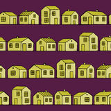 Nice yellow Houses set with purple background. Vector seamless pattern. Royalty Free Stock Image