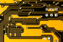 Nice yellow motherboard circuit Royalty Free Stock Photography