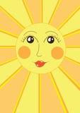 Nice yellow sun. Illustration of nice yellow sun, cartoon Royalty Free Stock Images