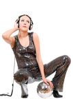 Nice young brunette in headphones Royalty Free Stock Photos