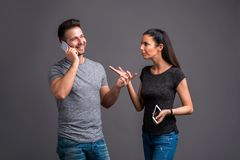 Free Nice Young Couple In The Studio Royalty Free Stock Photography - 124409877