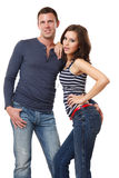 Nice young couple posing in studio Royalty Free Stock Image