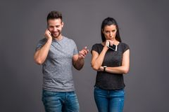 Nice young couple in the studio Stock Image
