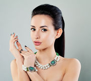 Nice Young Fashion Model Woman with Makeup, Manicure Stock Photo