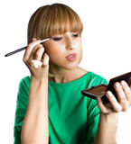 Nice young female with make-up brush isolated Stock Photo