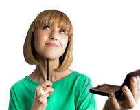 Nice young female with make-up brush isolated Stock Image