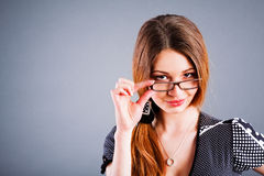 Nice young girl in glasses Royalty Free Stock Image