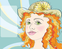 Nice young girl in hat. On abstract background Royalty Free Illustration
