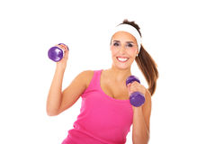 Girl with weights Royalty Free Stock Image