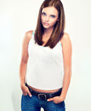 Nice young girl in jeans Stock Photo