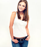 Nice young girl in jeans Stock Images