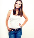Nice young girl in jeans Royalty Free Stock Images