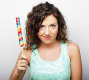 Nice young girl with lolipop Royalty Free Stock Photo