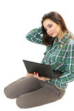 Nice young girl with the netbook. Stock Photos