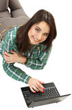 Nice young girl with the netbook. Stock Photo