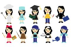 Nice Young Girls Of Different Jobs Royalty Free Stock Photo