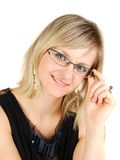 Nice young lady wearing glasses. Stock Images
