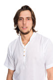Nice young man with long hair. Isolated on white Stock Photo
