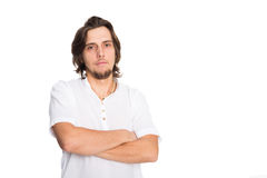 Nice young man in white. Isolated on white Royalty Free Stock Photography