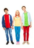 Nice young teens boys and girl hold hands Royalty Free Stock Photography