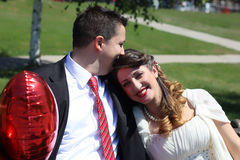 Nice young wedding couple Stock Images