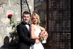 Nice young wedding couple Stock Images