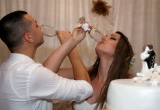 Nice young wedding couple Stock Photos