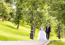 Nice young wedding couple outdoors Royalty Free Stock Photo