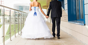 Nice young wedding couple outdoors Royalty Free Stock Images