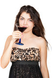 Nice young woman with alcoholic drink Royalty Free Stock Photography