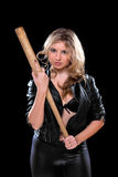 Nice young woman with a bat Stock Image