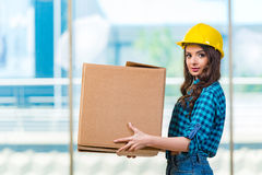 The nice young woman carrying box Royalty Free Stock Images
