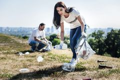 Nice young woman collecting rubbish. Clean environment. Nice pleasant young women holding a plastic bag and collecting rubbish while helping the environment Royalty Free Stock Photography