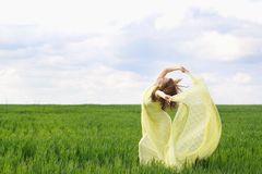 Nice young woman dancing stock photography