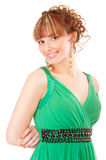 Nice young woman in green dress Royalty Free Stock Photo