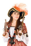 Nice young woman with guns Stock Photo