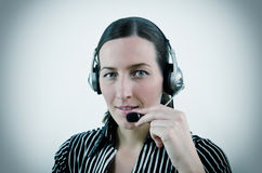 Operator. Nice young woman operator in different situation Royalty Free Stock Images