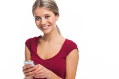 Nice young woman with phone Stock Image