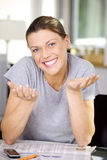 Beautiful cheerful woman stock images