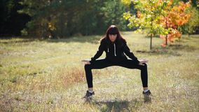 A woman in a sport suit stretches her muscles before training in a summer park. A nice and young woman in a sports suit is engaged in warming up the muscles in stock video footage