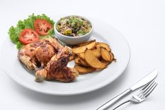 Nice yummy barbeque chicken on white back stock photo