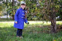 Nicelittle girl in blue coat Royalty Free Stock Photos