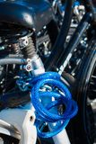 A nicely coloured blue bicycle lock stock photos