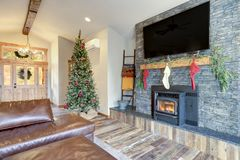 Nicely decorated home interior for Christmas royalty free stock photos