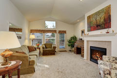 Nicely decorated living room with fireplace. Royalty Free Stock Photography
