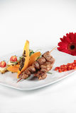 Nicely decorated meat served with vegetables Stock Photo
