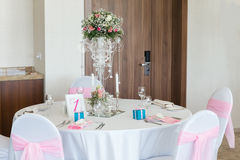 Nicely decorated wedding table Stock Images