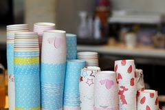 Paper cups kept in display royalty free stock image