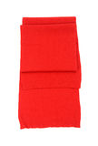 Nicely folded red scarf on white. Stock Photo