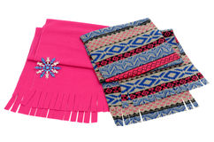 Nicely folded winter scarf with fringe. Stock Photo
